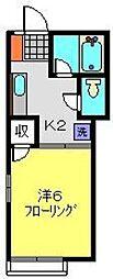 神奈川県横浜市南区清水ケ丘の賃貸アパートの間取り