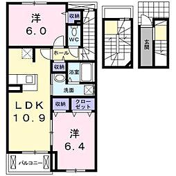 愛知県豊橋市江島町の賃貸アパートの間取り