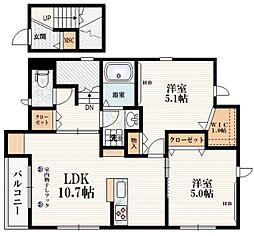 東急世田谷線 上町駅 徒歩3分の賃貸マンション 2階2LDKの間取り