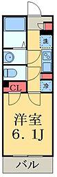 京成本線 京成大久保駅 徒歩13分の賃貸マンション 2階1Kの間取り
