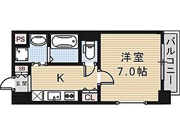 大阪府大阪市東成区大今里西1の賃貸マンションの間取り