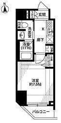 JR山手線 浜松町駅 徒歩3分の賃貸マンション 4階1Kの間取り