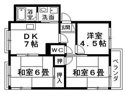 シャロムA・B棟[2階]の間取り