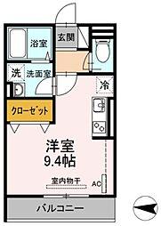 JR横須賀線 新川崎駅 徒歩16分の賃貸アパート 2階ワンルームの間取り