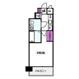 エスリード京橋桜ノ宮公園 4階1Kの間取り