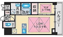 ノルデンタワー江坂プレミアム 9階1LDKの間取り