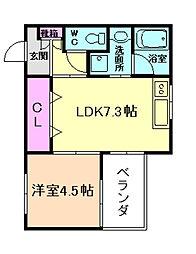 Maison de RaffineII 1階1DKの間取り