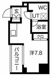 L-Forte GOTANDA 14階ワンルームの間取り