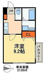 JR常磐線 新松戸駅 徒歩13分の賃貸アパート 3階1Kの間取り