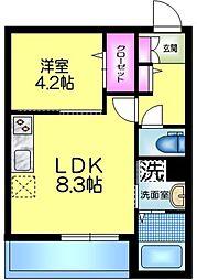 J.maison ジェイメゾン 1階1LDKの間取り