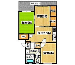 福岡県福岡市城南区堤1丁目の賃貸マンションの間取り