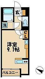 クレイノガーデンハイツWADA 2階ワンルームの間取り