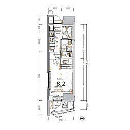 XEBEC大鳥居ASYLCOURT 4階1Kの間取り