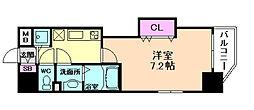 阪急宝塚本線 十三駅 徒歩3分の賃貸マンション 7階1Kの間取り