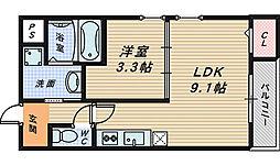 大阪府堺市堺区市之町東2丁の賃貸マンションの間取り