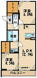 仮)D-room府中町2丁目 2階2LDKの間取り