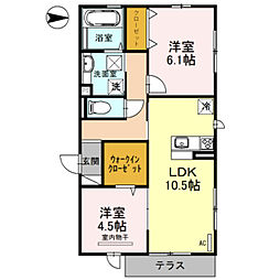 大阪府堺市中区土師町4丁の賃貸アパートの間取り