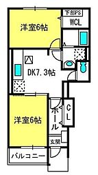 埼玉県さいたま市見沼区大字東宮下の賃貸アパートの間取り