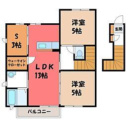 栃木県栃木市大森町の賃貸アパートの間取り