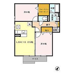愛知県田原市田原町下八軒家の賃貸アパートの間取り