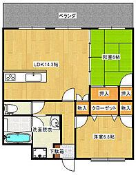 福岡県特定優良賃貸住宅ガーデンハウスゆうの森[306号室]の間取り