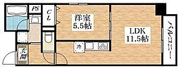 Osaka Metro谷町線 平野駅 徒歩6分の賃貸マンション 5階1LDKの間取り
