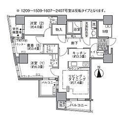 JR山手線 浜松町駅 徒歩3分の賃貸マンション 12階2SLDKの間取り