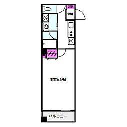 レクラン深江南 4階1Kの間取り