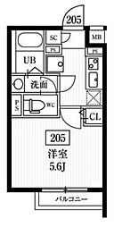エルファーロ神楽坂 3階1Kの間取り