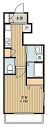 西武新宿線 新所沢駅 徒歩8分の賃貸マンション 1階1Kの間取り