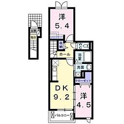 愛知県田原市福江町天神の賃貸アパートの間取り