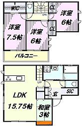 [一戸建] 埼玉県所沢市小手指町4丁目 の賃貸【/】の間取り