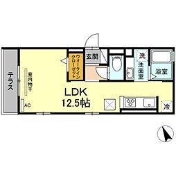 名鉄名古屋本線 東岡崎駅 徒歩5分の賃貸アパート 1階ワンルームの間取り