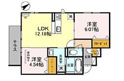 JR阪和線 三国ヶ丘駅 徒歩14分の賃貸アパート 1階2LDKの間取り