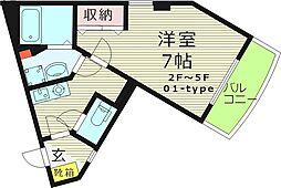 SHUNWA1(シュンワワン) 3階1Kの間取り