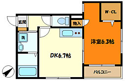 小田急小田原線 町田駅 徒歩17分の賃貸マンション 2階1DKの間取り