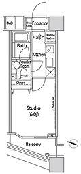 ファーストリアルタワー新宿 15階1Kの間取り
