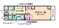 阪急宝塚本線 石橋阪大前駅 徒歩3分の賃貸マンション 4階1Kの間取り