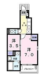 東武東上線 朝霞台駅 徒歩14分の賃貸アパート 1階2Kの間取り