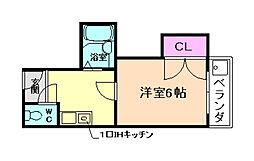 大阪府箕面市稲1丁目の賃貸マンションの間取り