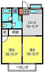 フジハイムA[208号室]の間取り