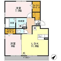 愛知県豊橋市橋良町字西中山の賃貸アパートの間取り