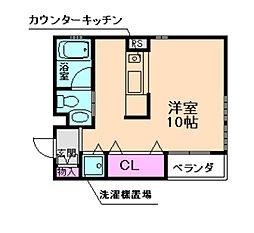 阪急宝塚本線 十三駅 徒歩10分の賃貸マンション 2階ワンルームの間取り