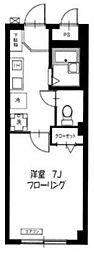 羽沢ガーデンハウス 2階1Kの間取り