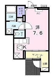 神奈川県厚木市松枝2丁目の賃貸アパートの間取り