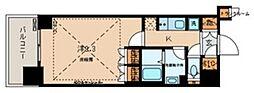 文京ガーデン ザ サウス 16階1Kの間取り