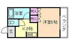 大阪府豊中市服部本町2丁目の賃貸マンションの間取り