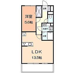 アメニティー多摩区枡形1丁目アパート 1階1LDKの間取り