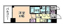 阪急宝塚本線 十三駅 徒歩8分の賃貸マンション 4階1Kの間取り