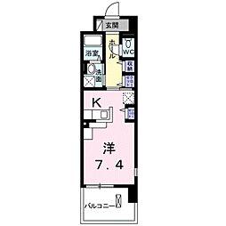 レジデンスTK 吉田 8階ワンルームの間取り